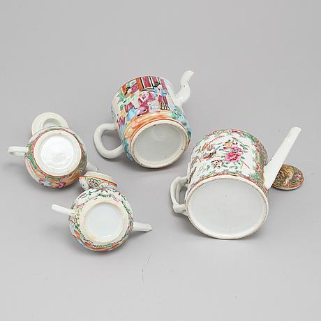 Four 19th century chinese porcelain tea pots.