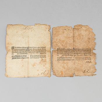 BANKSEDLAR, 2 st. Stockholm 1771 och 1774.