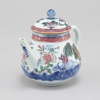 TEKANNA, porslin, kompaniporslin, Kina, Qingdynastin, sent 1700-tal.