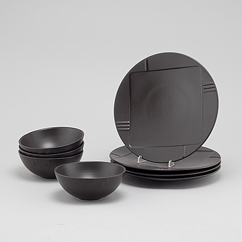 Eight pcs of ceramic table ware from Salins, France, late 20th century.