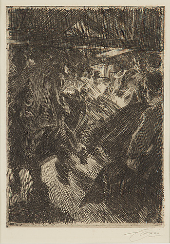 Anders zorn, etching, 1917, signed in pencil