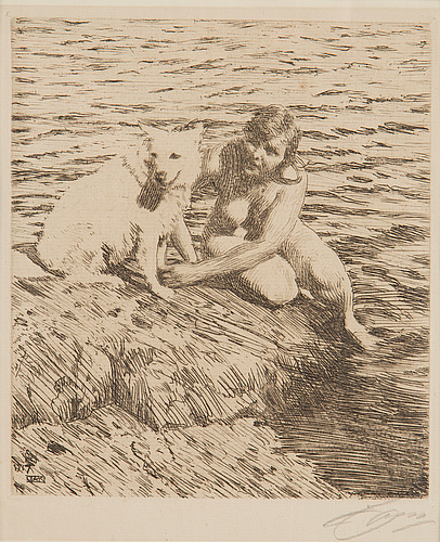 Anders zorn, etching, 1917, signed in pencil.