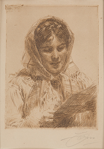 Anders zorn, etching, 1913, signed in pencil