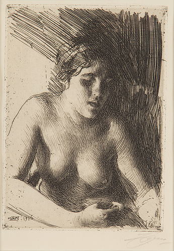 Anders zorn, etching, 1916, signed in pencil