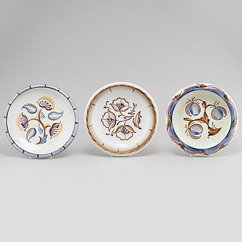 Three ceramic bowls designed by Ilse Claesson for Rörstrand, 1930/40s.