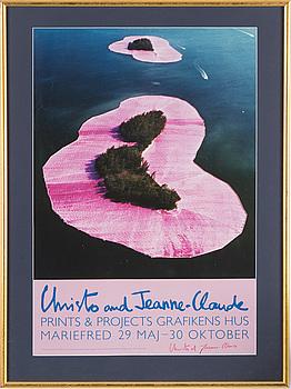 "CHRISTO & Jeanne-Claude, utställningsaffisch, ""Prints & Projects"", Grafikens Hus, Mariefred, signerad."