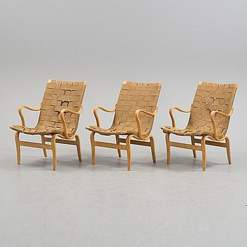 """BRUNO MATHSSON, fåtöljer, tre st, """"Eva"""", Firma Karl Mathsson, Värnamo, 1968."""
