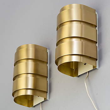 HANS-AGNE JAKOBSSON, HANS-AGNE JAKOBSSON, a pair of mid-20th century brass wall lights, MArkaryd, Sweden.