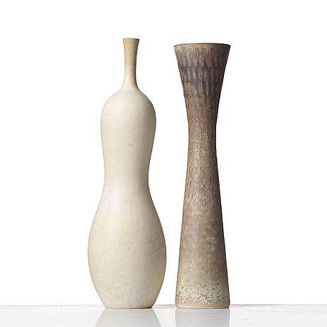 Carl-harry stålhane, two stoneware vases, rörstrand, sweden 1950's.