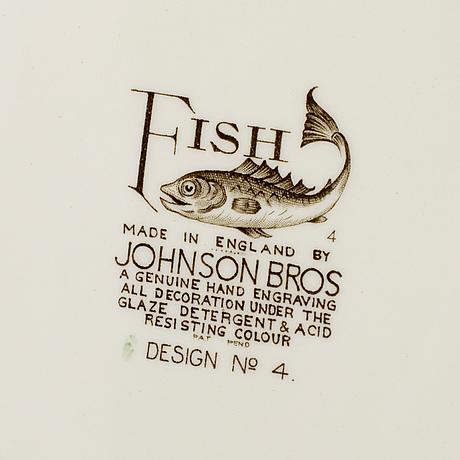 """Servisdelar, 17 st, flintgods, """"fish"""", johnson bros, england, 1900-talets andra hälft."""