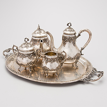 KAFFE- och TESERVIS samt BRICKA, silver, tot. 5 delar, Stora Valakiet, Rumänien 1926-1937.