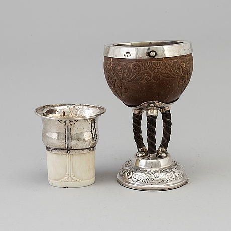 A swedish art nouveau silver and coconut stemcup and a silver and ivory beaker, makers mark märta af ekenstam, malmö
