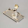 S swedish silver and parcel gilt art nouveau ink well with tray, maker's mark cg hallberg, stockholm, 1907