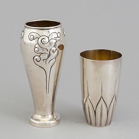 Two danish art nouveau parcel gilt vases, maker's mark a michelsen, copenhagen, 1902 and unknown maker, copenhagen 1909