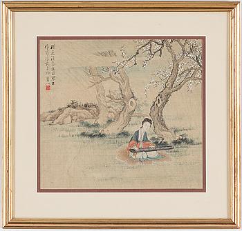 MÅLNING, akvarell på siden. Kina, Republik.