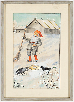 JENNY NYSTRÖM, Akvarell med täckvitt, signerad.