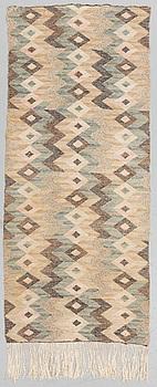 "A TEXTILE, ""Gråviggen"", flat weave, ca 147,5 x 62,5 cm, later signature MMF."