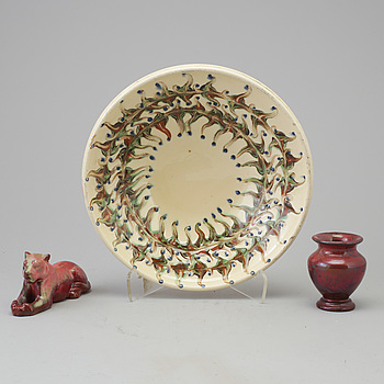 A early 20th century  bowl, vase and figurine by Herman Kähler, Denmark.