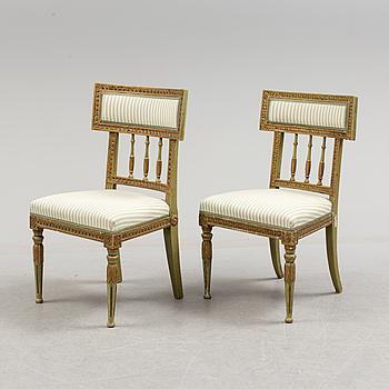 Two Swedish late gustavian chairs, ca 1800.