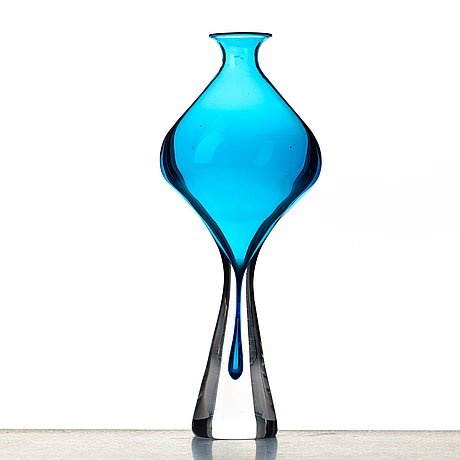 Vicke lindstrand, vas, glas, kosta, 1950-tal, unik.