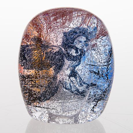 A graal glass sculpture signed sini majuri 2016.