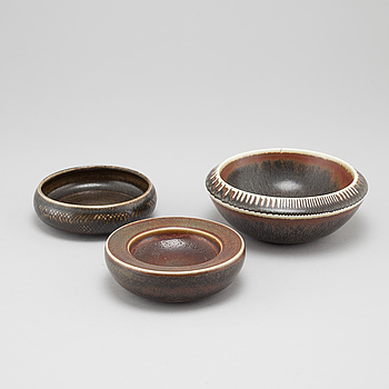 CARL-HARRY STÅLHANE, Three unique stoneware bowls, designed by Carl-Harry Stålhane for Rörstrand, signed and dated -56?, -57 and -60.