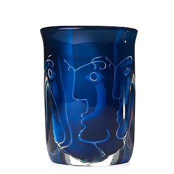 "8. INGEBORG LUNDIN, an ariel glass vase, ""Faces"", Orrefors 1979."