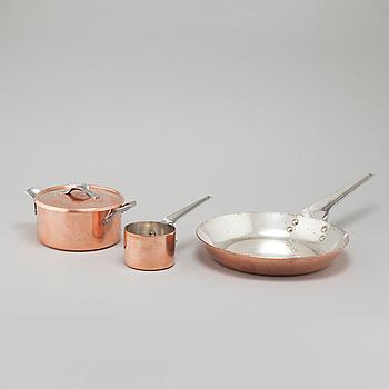 HENNING KOPPEL, stekpanna, gryta med lock och smörkastrull, Georg Jensen, Danmark, 1900-talets andra hälft.