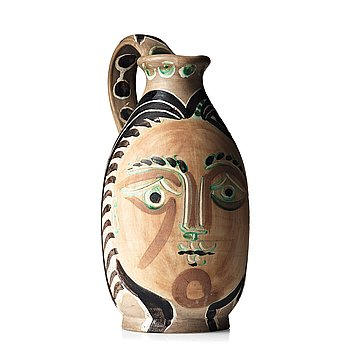 "114. Pablo Picasso, a faience pitcher ""Femme du Barbu"", Madoura, Vallauris, France 1953 (A Ramié, no 193)."