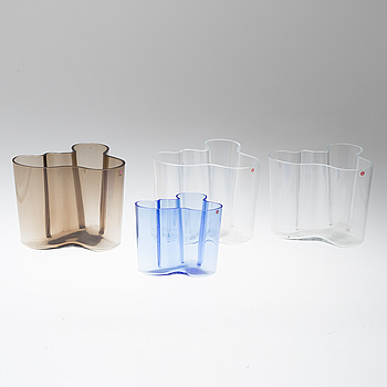 "ALVAR AALTO, vaser 4 st. glas, ""Savoy"", Iittala, Finland."