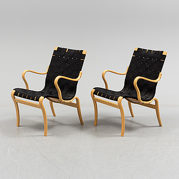 "BRUNO MATHSSON, a pair of ""Mina"" armchairs by Bruno Matsson."