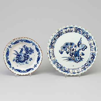 Two blue and white Dutch faience salvers, 18th Century.