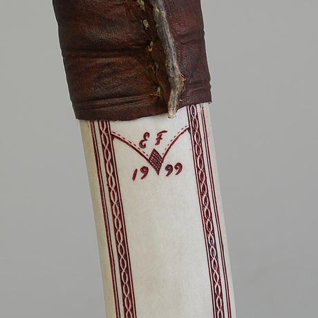 Erik fankki, a sami reindeer horn knife, signed ef and dated 1999.
