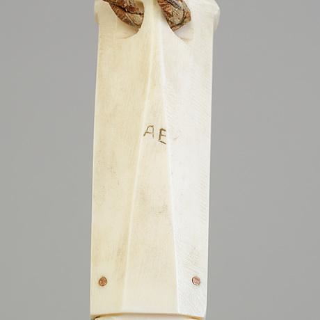Anton enarsson, a sami reindeer horn knife, signed ae.