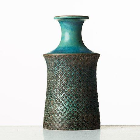 Stig lindberg, a stoneware vase, gustavsberg studio, sweden 1963.