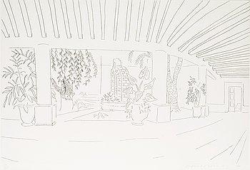 "244. David Hockney, ""Mexican Hotel Garden""."