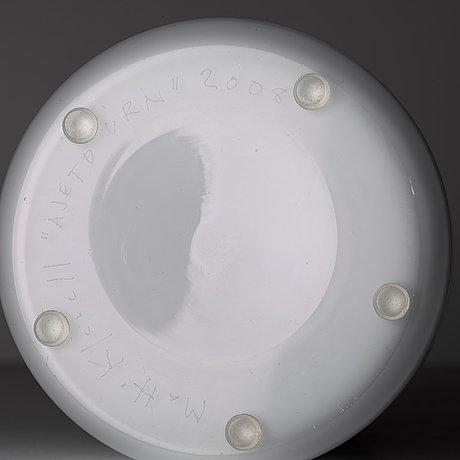 "Matti klenell, a unique free blown and solid glass ""ajeto urn"", produced at the ajeto glassworks, czechia 2008."