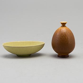 BERNDT FRIBERG, vas och skål, stengods, Gustavsberg studio, vasen signerad.