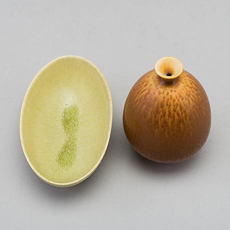 Berndt friberg, vas och skål, stengods, gustavsberg studio, vasen signerad