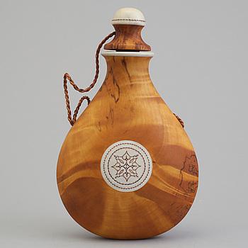 TORE SUNNA, a Sami birch and reindeer horn salt flask, signed Tore Sunna.