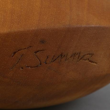 Tore sunna, a sami birch and reindeer horn salt flask, signed t. sunna.