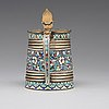 A russian early 20th parcel-gilt silver and enamel tankard, most certainly, vasily agafonov, moscow 1899-1908.