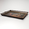 A 19th century painted metal tray, with a conversation piece.