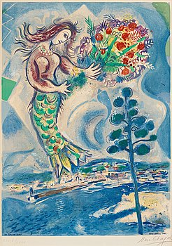 """517. MARC CHAGALL Efter, """"Sirène au pin"""", ur: """"Nice et la Côte d'Azur""""."""