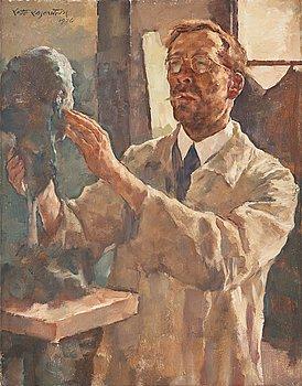 """434. LOTTE LASERSTEIN, Walther Beyer skulpterar av Lotte Laserstein """"Der Bildhauer – Walther Beyer, modellierend""""."""