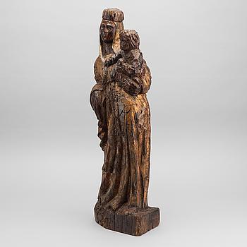SKULPTUR, snidat trä, sannolikt 1700-tal.