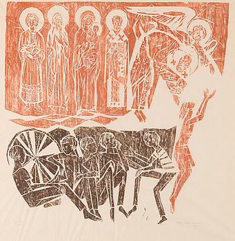 INA COLLIANDER, woodcut, signed and dated 1961, numbered t.p.l'a 9/10.