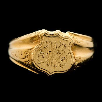 RING, 18K guld. Roland Mellin, Helsingfors 1857.