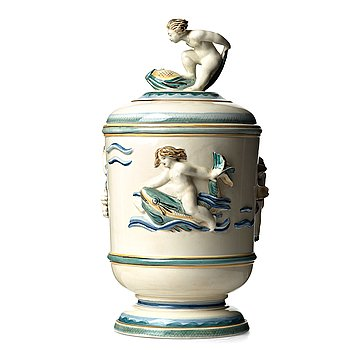 80. Tyra Lundgren, a creamware urn, Rörstrand, Sweden, ca 1930. This model was included in the 1930 Stockholm exhibition.