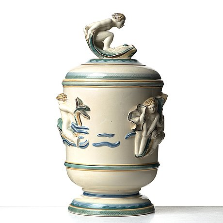 Tyra lundgren, a creamware urn, rörstrand, sweden, ca 1930. this model was included in the 1930 stockholm exhibition.